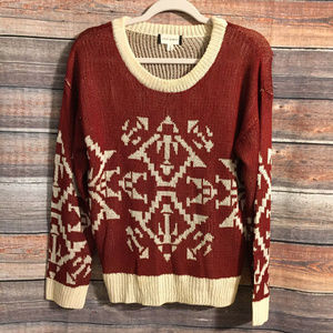 Francesca's fifty street Aztec red & ivory sweater